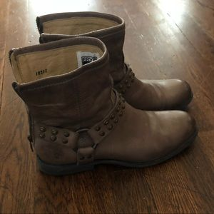 Frye short harness studded boots